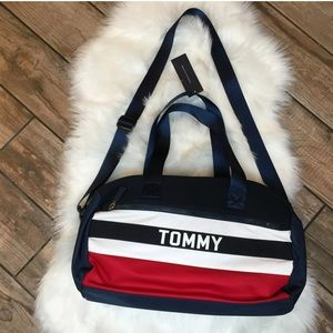 NEW Tommy Hilfiger Duffle Bag Blue Spell Out